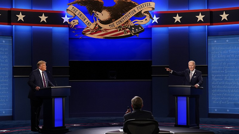 President Donald Trump, left, Democratic presidential candidate former Vice P...