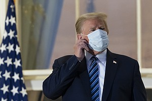Photo for 'Maybe I'm Immune': Trump Returns To White House, Removes Mask Despite Infection