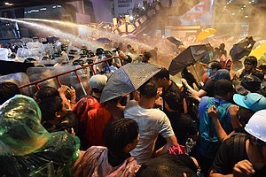 Police In Bangkok Use Water Cannon To Break Up Anti-Government Protests