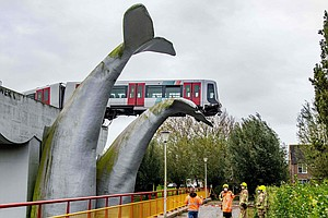 Saved By The Whale: Dutch Train Runs Off Elevated Tracks, Is Caught By Statue...