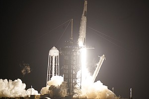 Liftoff! Astronauts Head To Space Station On SpaceX Rocket