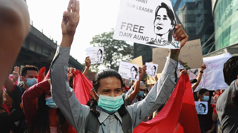 Thousands of people rallied against the military takeover in Yangon, Myanmar'...