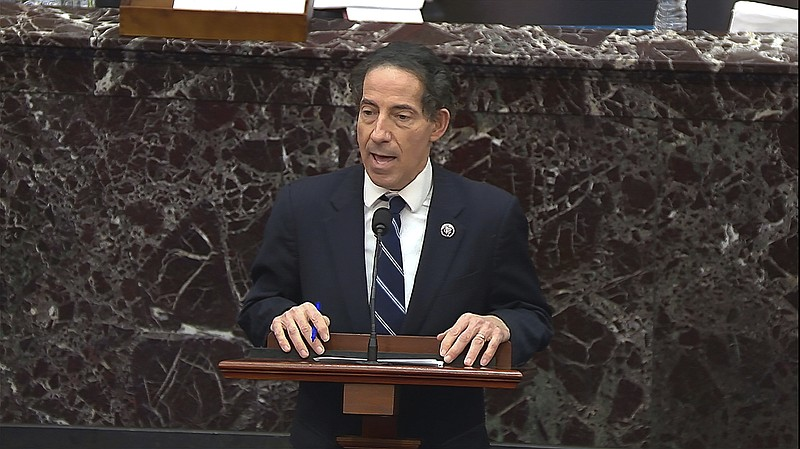 In this image from video, House impeachment manager Rep. Jamie Raskin (D-Md.)...