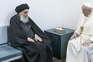 Pope Holds Historic Meeting With Iraq's Top Shiite Cleric, Preaches Message O...