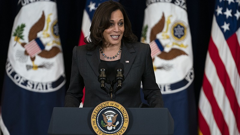Vice President Kamala Harris delivers remarks to State Department staff, Thur...