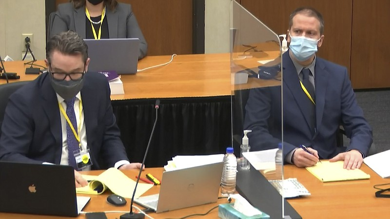 In this image from video, defense attorney Eric Nelson (left) and former Minn...