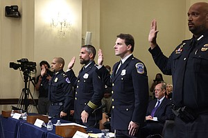 Photo for Jan. 6 Insurrection Committee Holds Its 1st Hearing, Questioning Police: Watc...