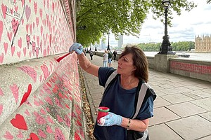 In London, Thousands Of Red Hearts Honor COVID Victims In Plain View Of Parli...