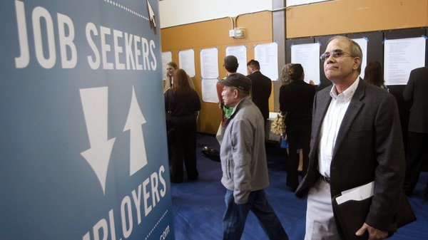 Alan Shull attends a job fair in Portland, Ore., on April 24.