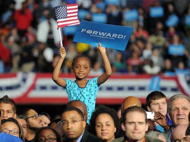 Supporters listen to President Obama at a campaign rally Monday in Columbus, Ohio.