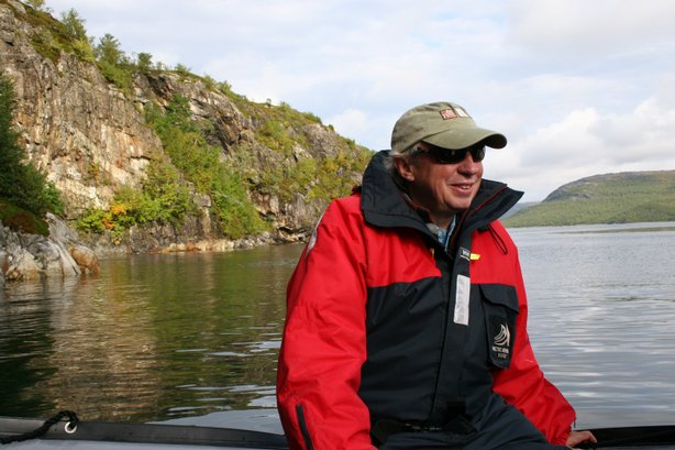 Richard Bangs on boat north of Arctic Circle