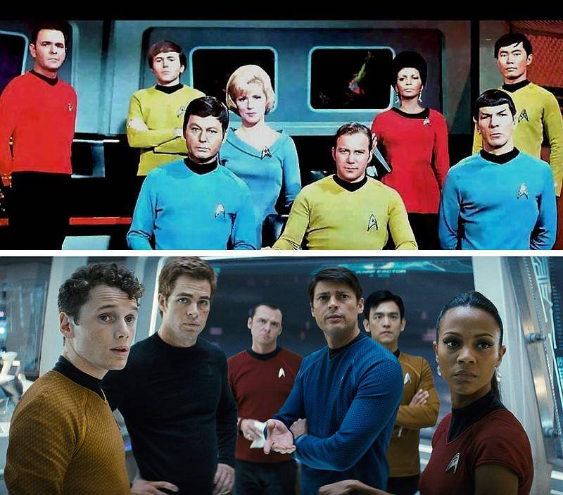 The crew of the Starship Enterprise, then and now.