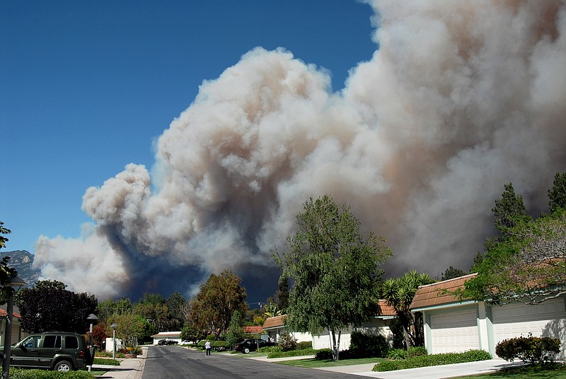 Fire approaches a neighborhood in Santa Barbara County.