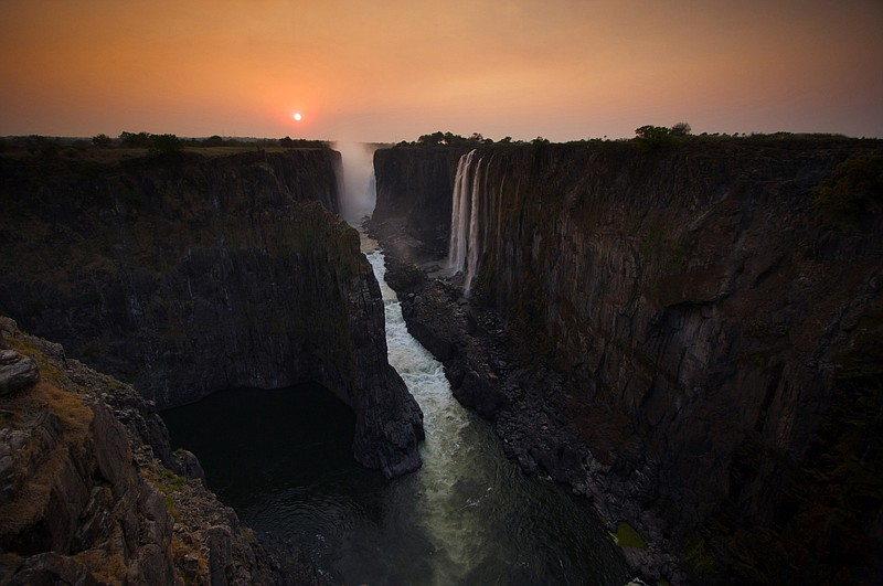 Dry season view of Victoria Falls from Zambia.