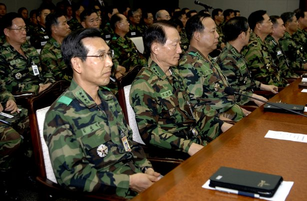 Commanders participate in an entire force commanders meeting regarding North ...