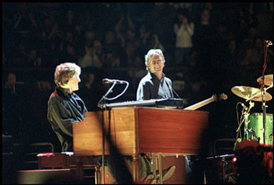 Guitar legend Eric Clapton (right) and his Blind Faith bandmate Steve Winwood...