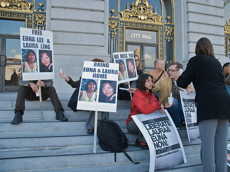 Supporters of Euna Lee and Laura Lings hold a vigil June 3, 2009 at San Franc...