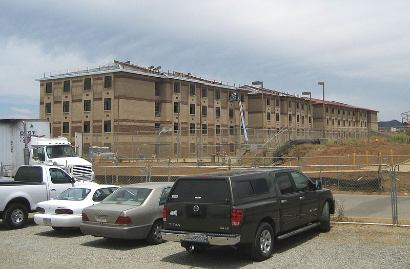 One of 40 new barracks buildings under construction on Camp Pendleton.