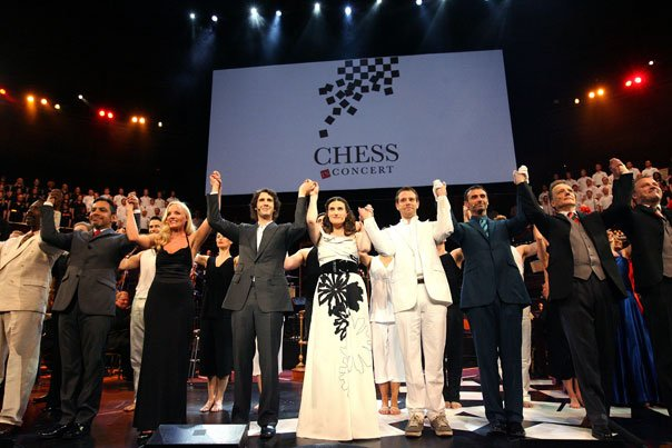 The Chess cast, featuring Josh Groban, Idina Menzel and Adam Pascal (in cente...