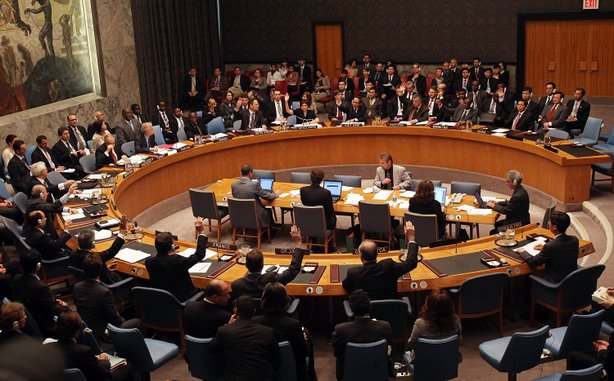 The United Nations Security Council votes to adopt a resolution imposing sanc...