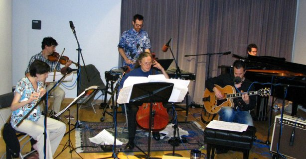 Members of the NOISE Ensemble in the KPBS Performance Studio: Lisa Cella on f...