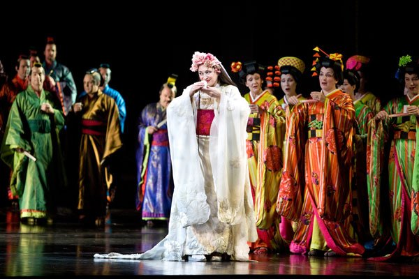"""Patricia Racette returns to the title role in Anthony Minghella's striking production of """"Madama Butterfly,"""" a new classic of the Met repertory."""