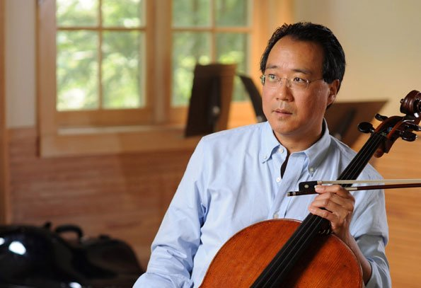 Renowned cellist Yo-Yo Ma demonstrates the way musical intervals are used or ...