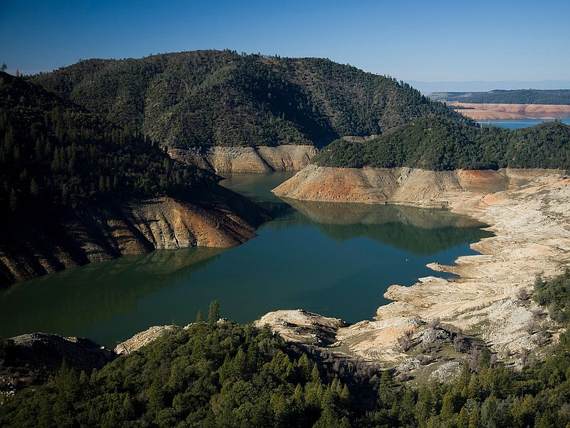 Lake Oroville, the main reservoir for the Calif. water project system, is 25 ...