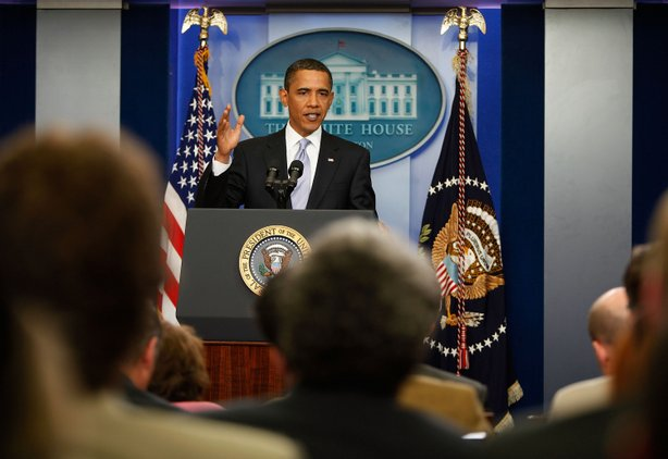 U.S. President Barack Obama speaks during a news conference in the James S. B...