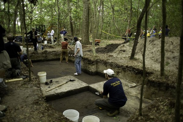 <em>TIME TEAM AMERICA's</em> excavators uncovered a line of subtle stains in the soil at Fort Raleigh National Park on Roanoke Island. The staining may indicate 16th century wooden structures built by America's first English colonists.