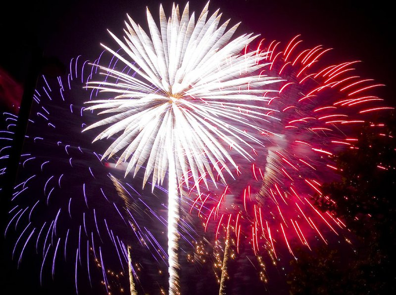 Red, white and blue fireworks light up the sky on the 4th of July.