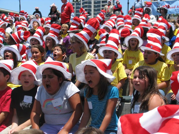 More than 300 school kids went to Petco Park to kick off the national Read Ac...