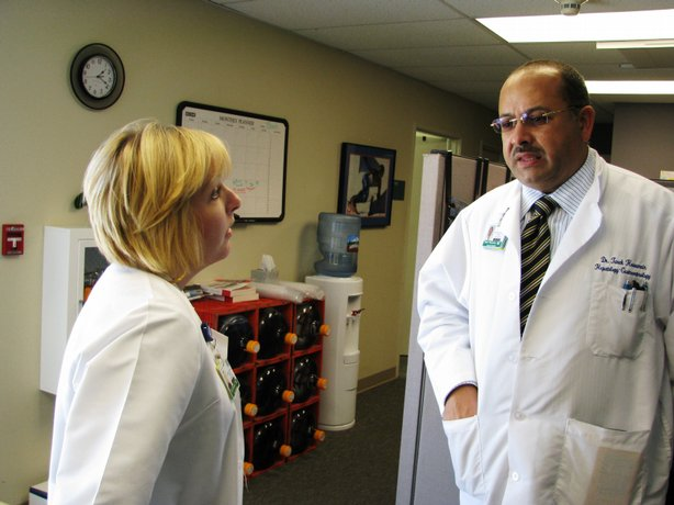Nurse practitioner Lisa Richards and liver specialist Dr. Tarek Hassenein work with hepatitis C patients at UCSD Medical Center in Hillcrest.