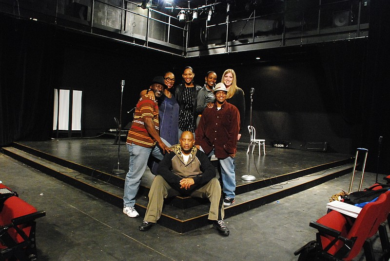 The cast of Jazz Queens Cast Blue Shadows at rehearsal.