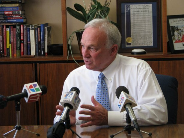 San Diego Mayor Jerry Sanders talks to reporters about the state's budget cri...