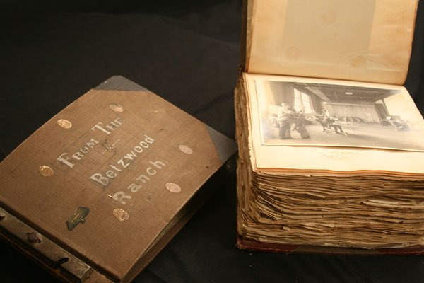 These bulging photo albums, dated 1914 to 1916, contain hundreds of photos of film stars and behind-the-scenes shots. These handmade albums document the early days of Philadelphia film mogul Siegmund Lubin.
