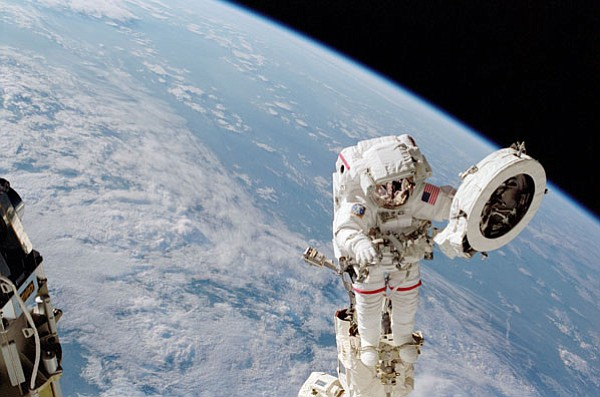 Franklin Chang-Diaz, the first Latin American astronaut, during a space walk.