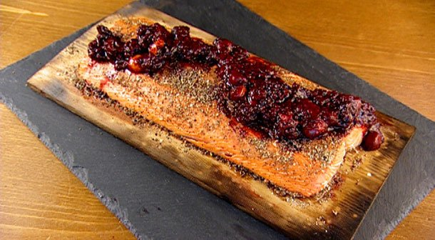 Cedar-planked wild salmon with a juniper and wild berry glaze.