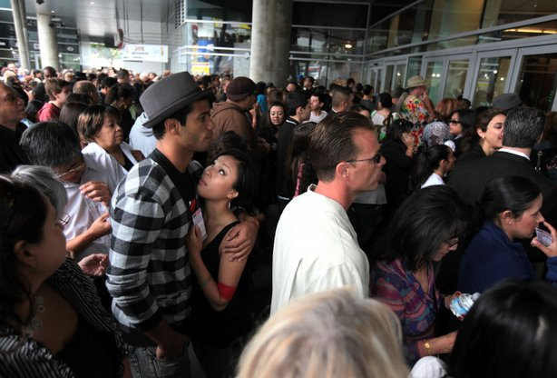 Ticketed fans enter the Michael Jackson public memorial service held at Staples Center on July 7, 2009 in Los Angeles, California.