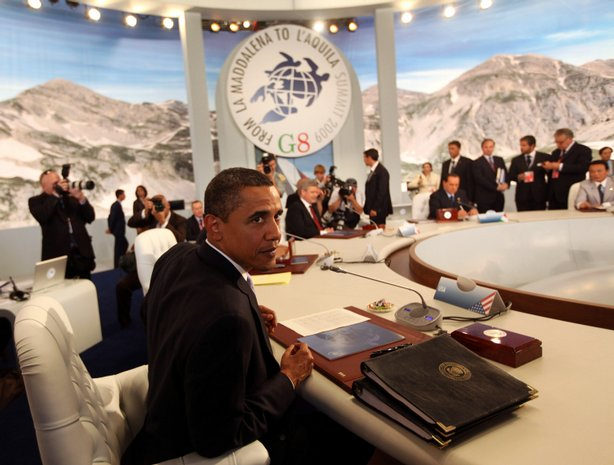 President of the United States of America, Barack Obama, attends a round-table discussion with the leaders of the other G8 group of nations during their summit on July 8, 2009 in L'Aquila, Italy.