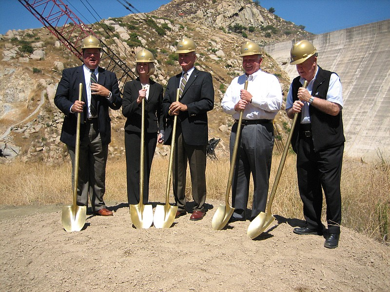 Officials break ground on a project to increase storage capacity at the San V...