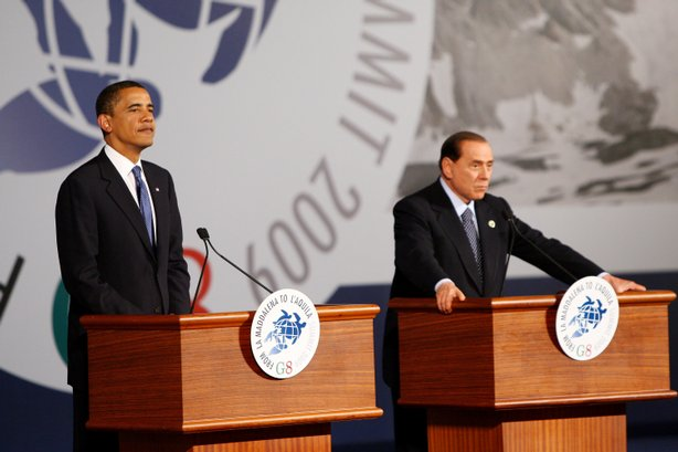 U.S. President Barack Obama (L) and Italian Prime Minister Silvio Berlusconi speak at a press conference during the G8 at the Guardia Di Finanza School of Coppito on July 9, 2009 in L'Aquila, Italy.