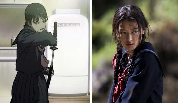 "Saya in animated form and live action in ""Blood: The Last Vampire"""