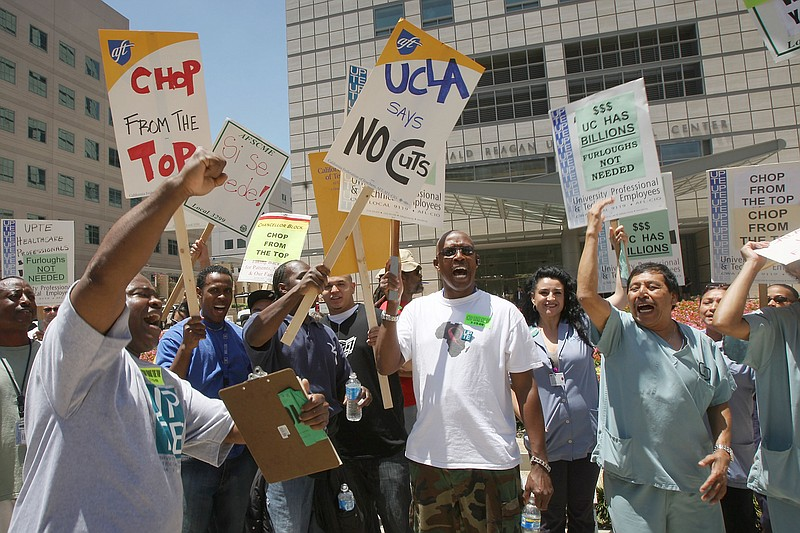 University of California employees represented by the Union Coalition demonst...