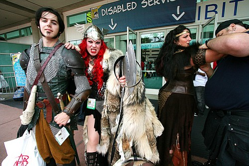 Outside the convention hall during Comic-Con, 2008.