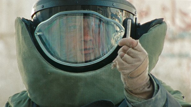 "Jeremy Renner in the protective suit in ""The Hurt Locker"""