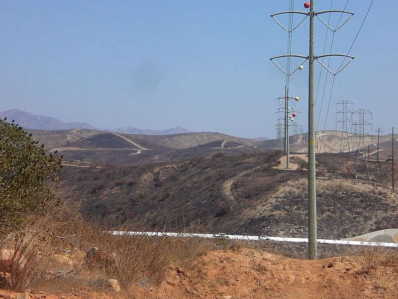 SDG&E power lines in rural San Diego appear in this undated photo.