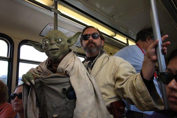 Obi-Wan and Yoda on the way to Comic-Con.