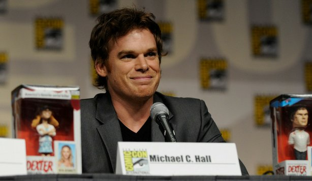 Actor Michael C. Hall smiles from the stage of the Dexter panel at Comic-Con International 2009.