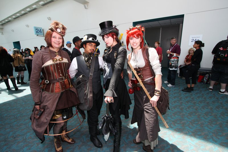 Steampunks wait outside the conference room for Comic-Con's steampunk meetup.